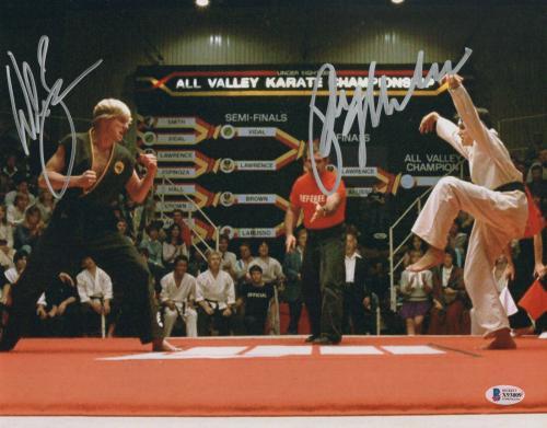 William Zabka Ralph Macchio Signed Auto The Karate Kid 11x14 Metallic Beckett 7