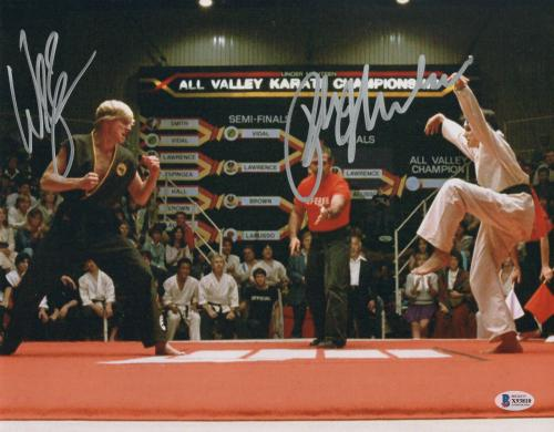William Zabka Ralph Macchio Signed Auto The Karate Kid 11x14 Metallic Beckett 8