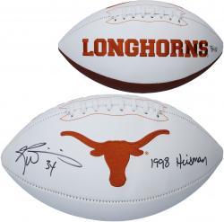 Autographed Ricky Williams Texas Longhorns Logo Football with Heisman Inscription