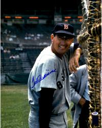 """Ted Williams Boston Red Sox Autographed 16"""" x 20"""" Leaning In Cage Photograph"""