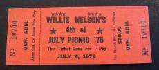 Willie Nelson 1976 4th of July Picnic Unused EX/NM Ticket Waylon Jennings