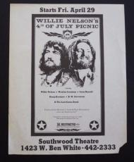 Willie Nelson 8.5x11 100% Original Concert Flyer Poster April 29th 1977 Waylon 2