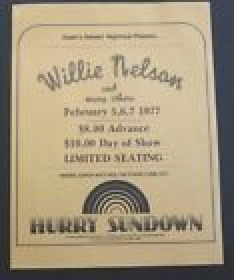 Willie Nelson 8.5x11 100% Original Concert Flyer Poster Feb 5 6 & 7 1977
