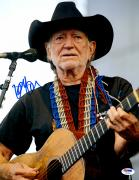 "Willie Nelson Autographed 11""X 14"" Playing Guitar Wearing Black Hat With White Background Blue Ink Photograph - PSA/DNA COA"