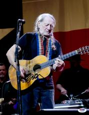 "Willie Nelson Autographed 11""X 14"" Playing Guitar With No Hat & Wearing Black Shirt Photograph - PSA/DNA COA"