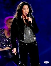 "Cher Autographed 11""x 14"" Singing Wearing Black Jacket & Black Pants Photograph - PSA/DNA COA"