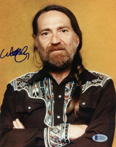 """Willie Nelson Autographed 8""""x 10"""" Arms Folded Photograph With Blue Ink - Beckett COA"""