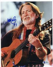 "Willie Nelson Autographed 8""x 10"" Black Shirt Photograph - Beckett COA"