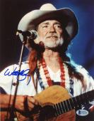"Willie Nelson Autographed 8""x 10"" Grey Cowboy Hat Photograph - Beckett COA"