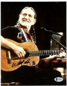 """Willie Nelson Autographed 8""""x 10"""" Sitting Playing Guitar Photograph - PSA/DNA COA"""