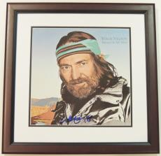 Willie Nelson Autographed Always On My Mind LP Record Album Cover MAHOGANY CUSTOM FRAME