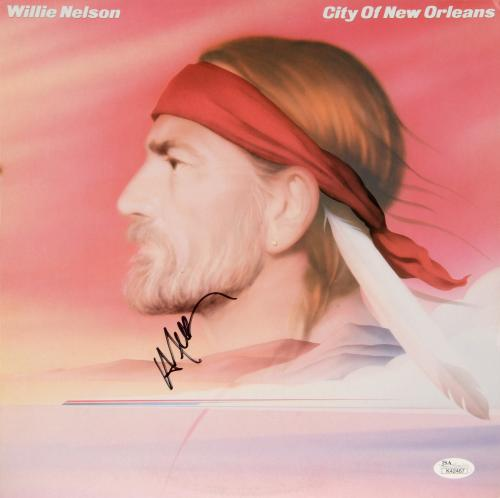 Willie Nelson Autographed City Of New orleans Album Cover - JSA COA