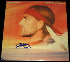 Willie Nelson Autographed City Of New Orleans LP Record Album Cover
