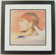 Willie Nelson Autographed City Of New Orleans LP Record Album Cover BLACK CUSTOM FRAME