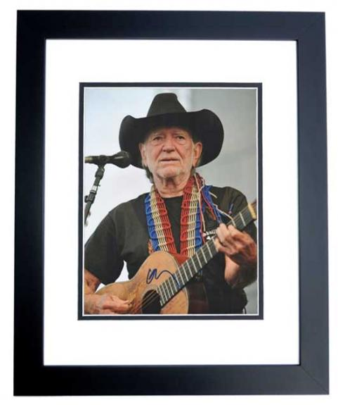Willie Nelson Signed - Autographed Concert 11x14 inch Photo - Country Music Legend - BLACK CUSTOM FRAME - Guaranteed to pass PSA or JSA