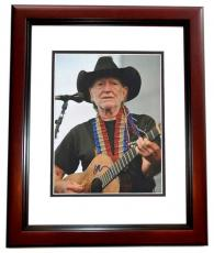 Willie Nelson Signed - Autographed Concert 11x14 Photo - Country Music Legend - MAHOGANY CUSTOM FRAME
