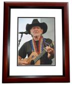 Willie Nelson Signed - Autographed Concert 11x14 inch Photo - Country Music Legend - MAHOGANY CUSTOM FRAME - Guaranteed to pass PSA or JSA