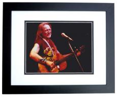 Willie Nelson Autographed Concert 8x10 Photo BLACK CUSTOM FRAME