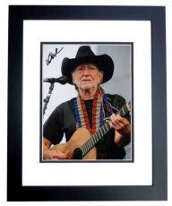 Willie Nelson Autographed Concert 8x10 Photo - Country Music Legend - BLACK CUSTOM FRAME