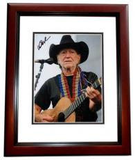Willie Nelson Autographed Concert 8x10 Photo - Country Music Legend - MAHOGANY CUSTOM FRAME