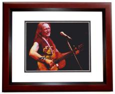 Willie Nelson Autographed Concert 8x10 Photo MAHOGANY CUSTOM FRAME
