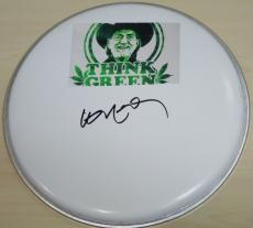 Willie Nelson Autographed DrumHead with Willie Nelson Think Green sticker