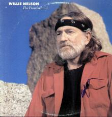 WILLIE NELSON Autographed Framed Promiseland Album LP    AFTAL