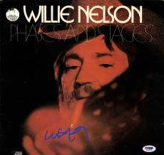 Willie Nelson Autographed Phases And Stages Album Cover AFTAL UACC RD PSA