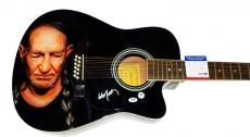Willie Nelson Autographed Signed 12String Airbrushed Guitar PSA