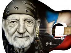 Willie Nelson Autographed Signed Airbrushed Guitar Psa/Dna Uacc