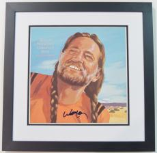 Willie Nelson Autographed Willie Nelson's Greatest Hits and Some That Will Be LP Record Album Cover BLACK CUSTOM FRAME