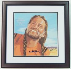 Willie Nelson Autographed Willie Nelson's Greatest Hits and Some That Will Be LP Record Album Cover MAHOGANY CUSTOM FRAME