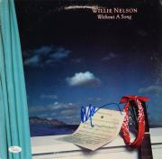 Willie Nelson Autographed Without A Song Album Cover Blue Ink - JSA COA