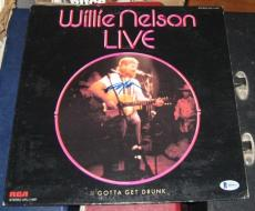 Willie Nelson Country Signed Autographed 1976 Willie Nelson Live Album Bas/coa