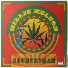 Willie Nelson Countryman Signed Album Cover W/ Vinyl Autographed Psa/dna #w46817