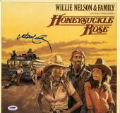 Willie Nelson Double Autographed Honeysuckle Rose Album Cover AFTAL UACC RD PSA