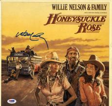Willie Nelson Double Autographed Honeysuckle Rose Album Cover AFTAL UACC RD PSA