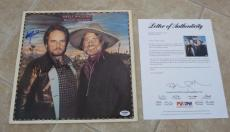 Willie Nelson & Merle Haggard & Poncho Lefty Signed Autographed LP PSA Certified