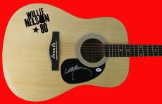 Willie Nelson Signed Acoustic Guitar Autographed PSA/DNA #AB40474