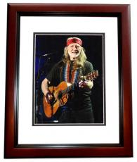 Willie Nelson Signed - Autographed Country Music Star - Concert 8x10 inch Photo MAHOGANY CUSTOM FRAME - Guaranteed to pass PSA or JSA