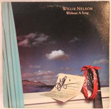 """WILLIE NELSON Signed Autographed """"Without A Song"""" Album LP JSA #K96101"""