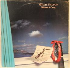 "WILLIE NELSON Signed Autographed ""Without A Song"" Album LP JSA #L13029"