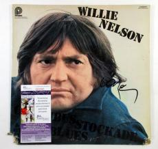 Willie Nelson Signed LP Record Album Columbus Stockade Blues w/ JSA AUTO