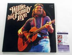 Willie Nelson Signed LP Record Album Willie and Family Live w/ JSA AUTO
