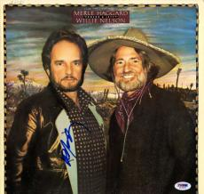 Willie Nelson Signed Poncho & Lefty Album Cover AFTAL UACC RD COA PSA