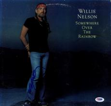 Willie Nelson Signed Somewhere Over The Rainbow Album Cover AFTAL UACC RD PSA