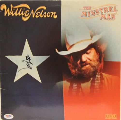 "WILLIE NELSON Signed ""The Minstrel Man"" Album LP PSA/DNA #T83895"