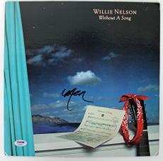 Willie Nelson Signed Without A Song Album Cover PSA/DNA #AB43081