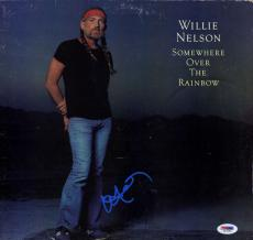 Willie Nelson Somewhere Over The Rainbow Signed Album Cover AFTAL UACC RD PSA