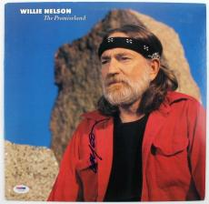 Willie Nelson The Promiseland Signed Album Cover W/ Vinyl PSA/DNA #U25899